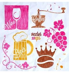 food and drink watercolor set beer wine coffee vector image