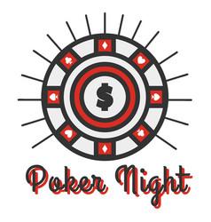 poker night banner big round vector image vector image