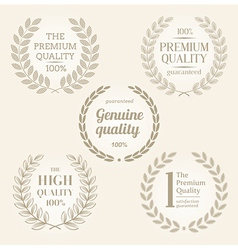 quality emblems with laurel wreath vector image vector image