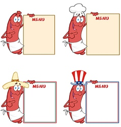 Sausages showing menu collection vector