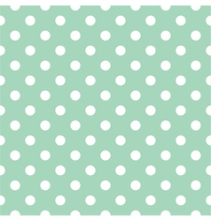 Seamless white polka dots pattern mint background vector image vector image