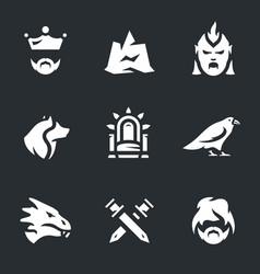 Set of fantasy dragon story icons vector