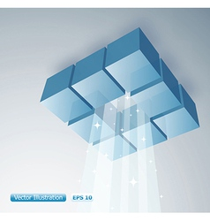 3d cubes with light shinning vector