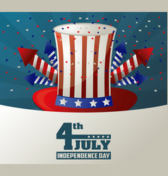 4th july independence day top hat fireworks vector image vector image