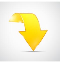 Abstract 3d Yellow Arrow Icon vector image vector image