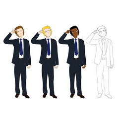 business man thinking scratching head vector image