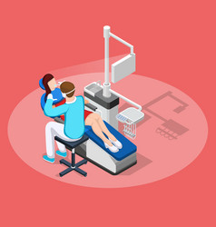 dental stopping isometric composition vector image vector image