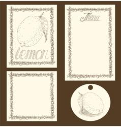 Lemon Menu Pages Card and Tag Design Set vector image vector image