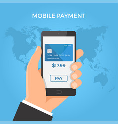 mobile payment concept hand holding smartphone vector image vector image