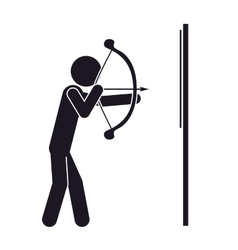 monochrome silhouette with man archery vector image