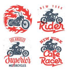 motorcycle prints set 001 vector image