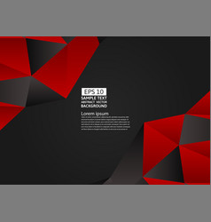 red and black color polygon abstract background vector image