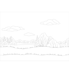 Seamless background woodland landscape contour vector image vector image