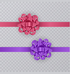 set of gift ribbons with realistic bow of pink and vector image vector image