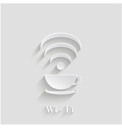 3d Coffee Cup Waves Wi-Fi Design Element With vector image