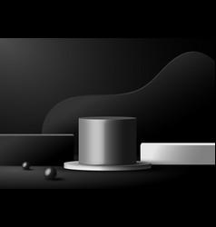 3d minimal scene black and white podiums vector