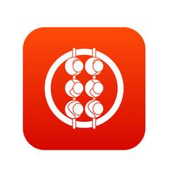 Asian shashlik icon digital red vector