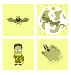 Assembly flat bat full moon witch zombie men ghost vector
