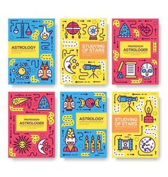 Astrology thin line brochure cards set colorfu vector
