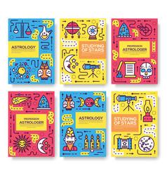 Astrology thin line brochure cards set colorfu vector