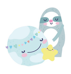 bashower cute sloth and star world hearts love vector image