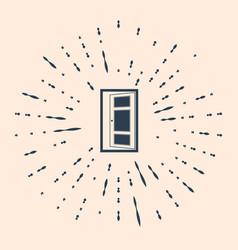 Black open door icon isolated on beige background vector