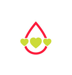 Blood donation logo with hearts vector