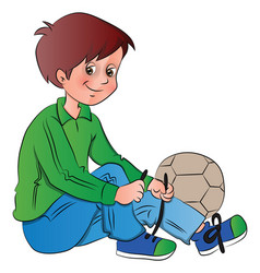 Boy tying shoelace vector