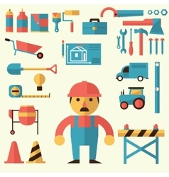 Builders icons set vector