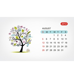 calendar 2012 august Art tree design vector image