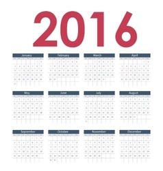 Calendar 2016 New Year vector image