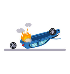 Car and transportation issue with burning car vector