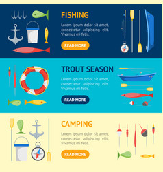 Cartoon fishing banner horizontal set vector