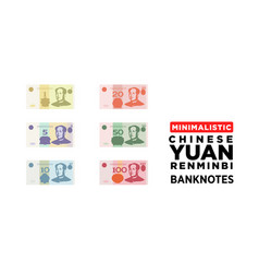 Chinese yuan renminbi money banknotes china vector