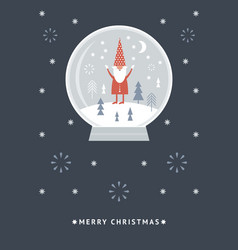 christmas card funny christmas gnome in a snow gl vector image