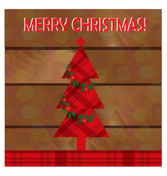christmas greeting card with christmas tree on the vector image