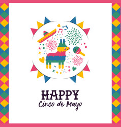 Cinco de mayo hand drawn pinata greeting card vector