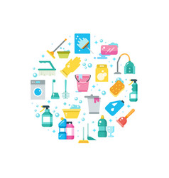 Clean house concept with cleaning and washing vector