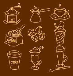 coffee drinks outline icon set vector image