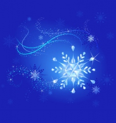 crystal snowflake on blue vector image