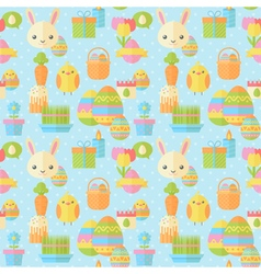 Cute Easter seamless pattern in flat vector image