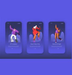 dancing disco characters landing page set vector image