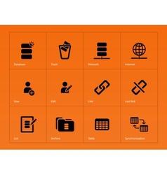 Database icons on orange background vector