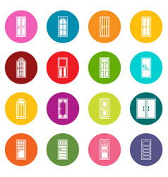 door icons many colors set vector image