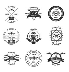 drone monochrome emblems set vector image