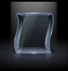 empty glass showcase in wave form for vector image vector image