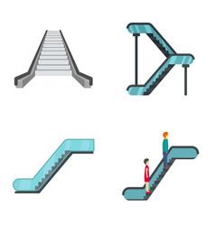 Escalator elevator icons set flat style vector