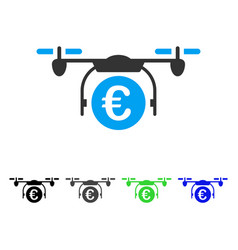 Euro quadcopter payment flat icon vector