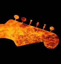 Flaming guitar headstock vector