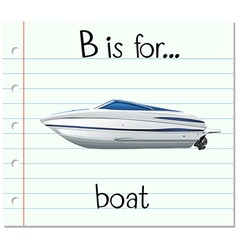 Flashcard letter B is for boat vector